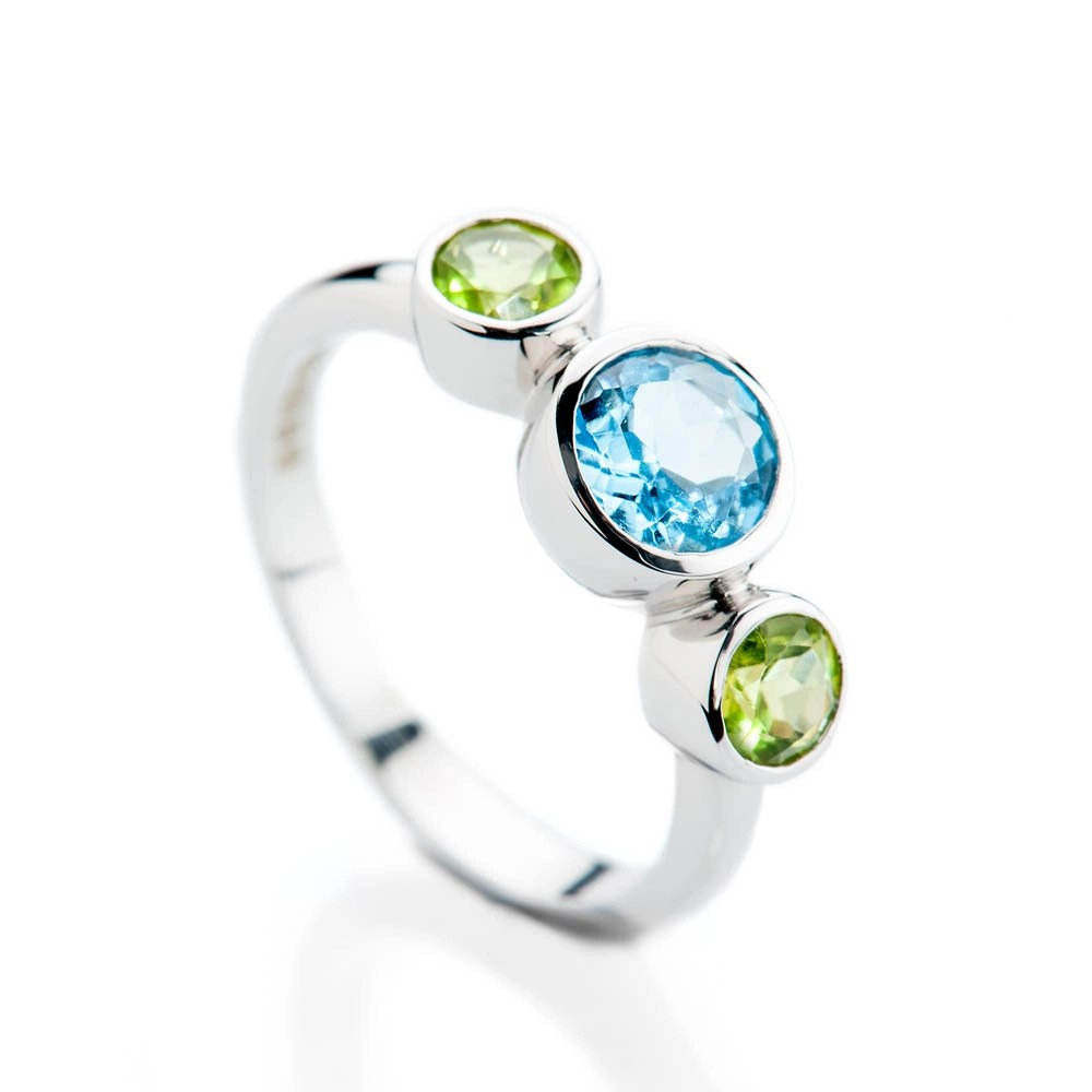 Heidi Kjeldsen Sumptuous Blue Enhanced Natural Topaz Green Peridot and Gold Cocktail Or Dress Ring R1330 - 2