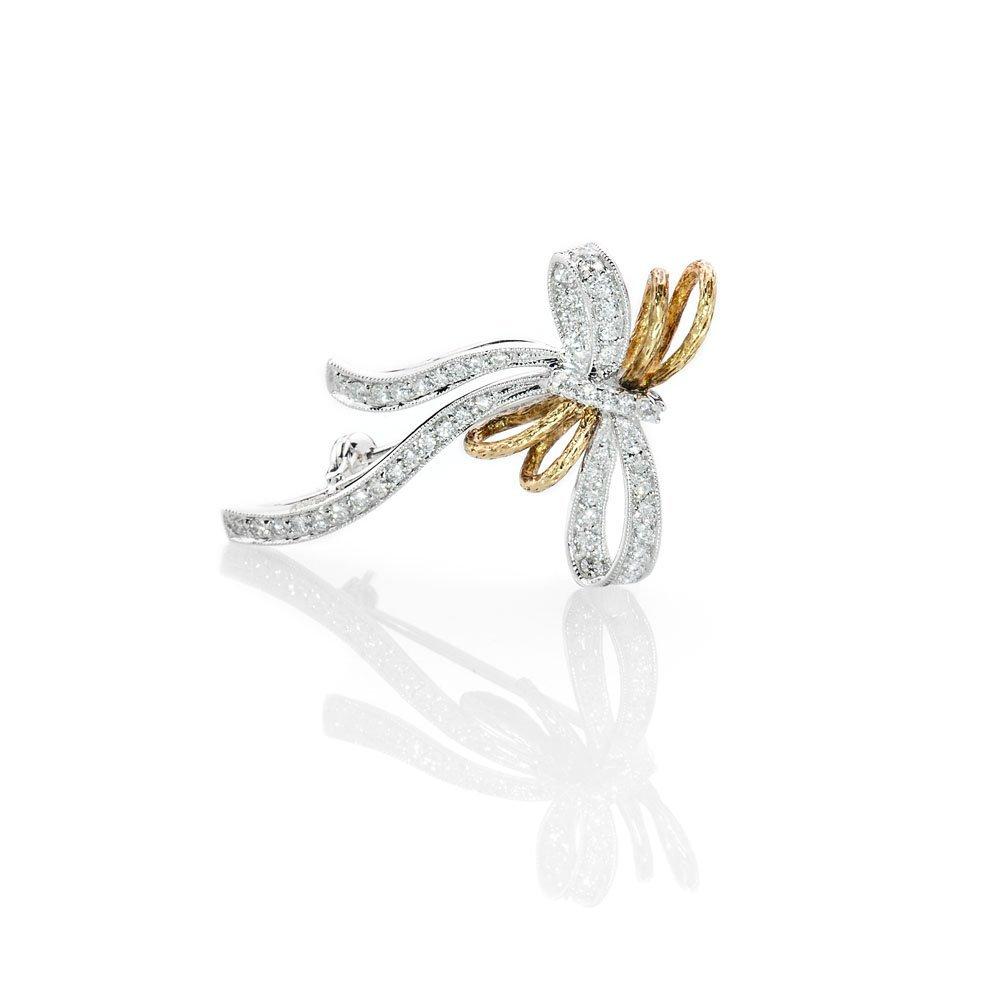Shimmering Diamond Bow Brooch
