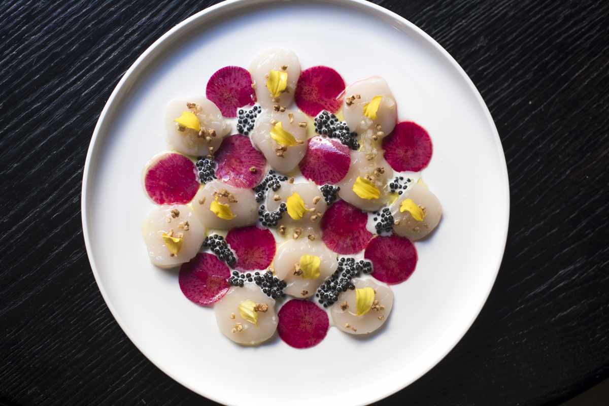 scallop with cavier at Grand Coeur, Paris, Fr.