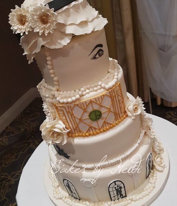 Four tiered 1920s wedding cake