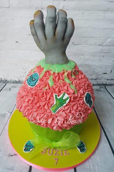 Zombie hand giant cupcake