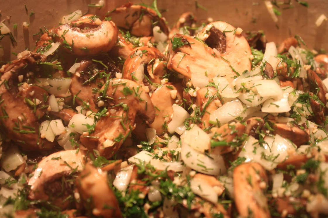 mushrooms, onions, fennel, and parsley