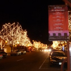 Downtown Littleton, Colorado lit up for Christmas