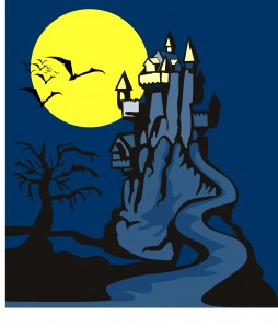 Haunted House blue and yellow