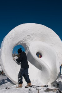 Go Breck snow sculpture photo by Carl Scofield