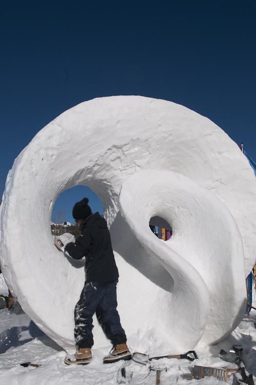Go Breck snow sculpture photo by Carl Scofield