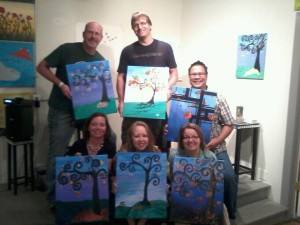 painting night with friends at studio vino