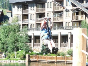zip lining at Copper Mountain HeidiTown August 2012