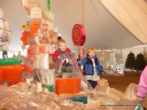 Having fun in and on the ice castle at Winter Festival 2012 Heiditown