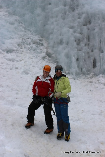 Heidi Kerr-Schlaefer and professional climber, Dawn Glanc at the Ouray Ice Park. Photo by Ryan Schlaefer for HeidiTown.com