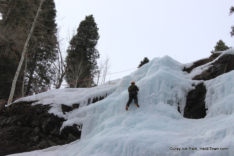 Ryan nearing the top of the climb at the School Room at Ouray Ice Park. Photo by Heidi Kerr-Schlaefer for HeidiTown.com