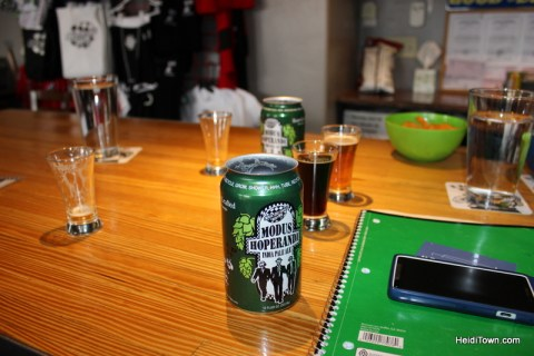 The aftermath of tasting beer at Ska Brewing in Durango, Colorado. HeidiTown.com