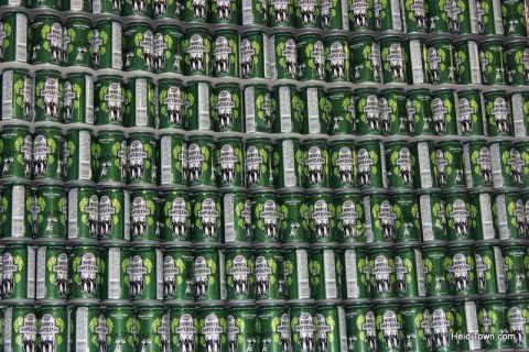 a wall of beer at Ska Brewing in Durango. HeidiTown.com