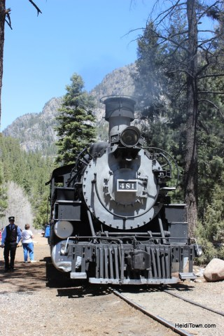 engine 481 at Cascade Station. Durango & Silverton Narrow Gauge Railroad. HeidiTown.com
