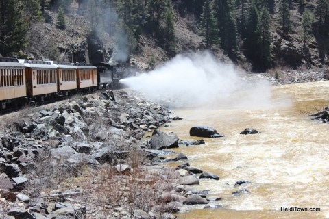 the Durango & Silverton Narrow Gauge Railroad lets off steam by HeidiTown.com
