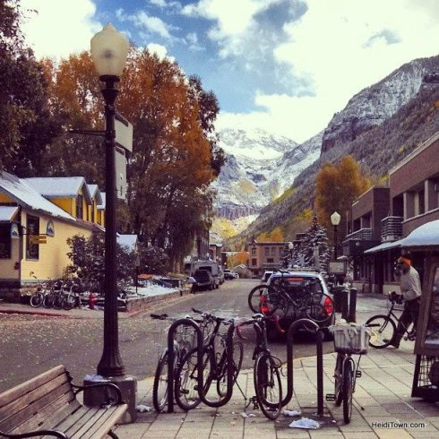 bikes in the snow in downtown Telluride