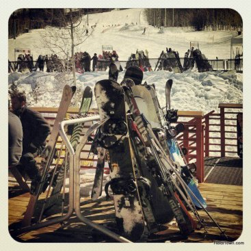 skis and snowboards collect at Powderhorn Mountain Resort. HeidiTown.com
