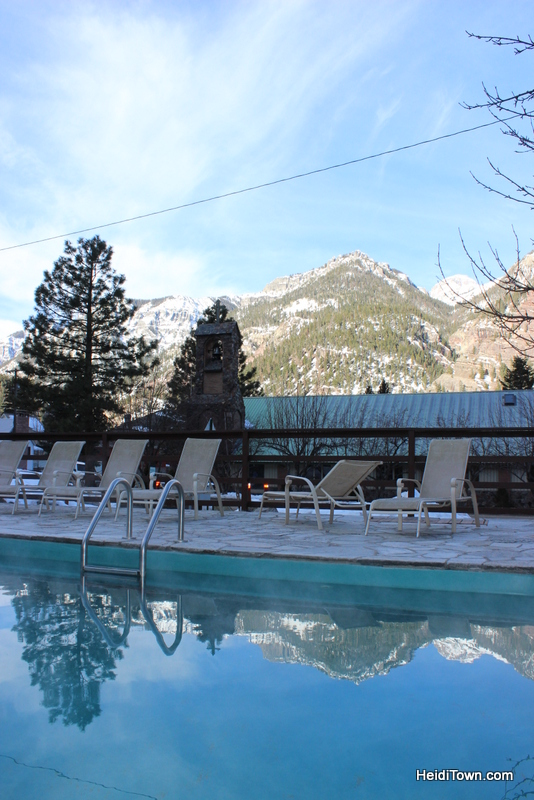 Reflection of the mountains in the hot spring pool at the Wiesbaden in Ouray. HeidiTown.com