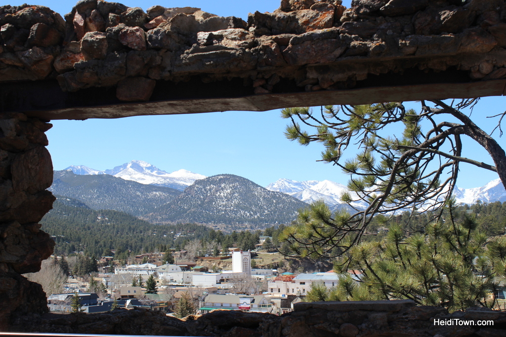 Downtown Estes Park and the Continental Divide as seen from the ruins of William Byer's cabin. Photo by Heidi Kerr-Schlaefer