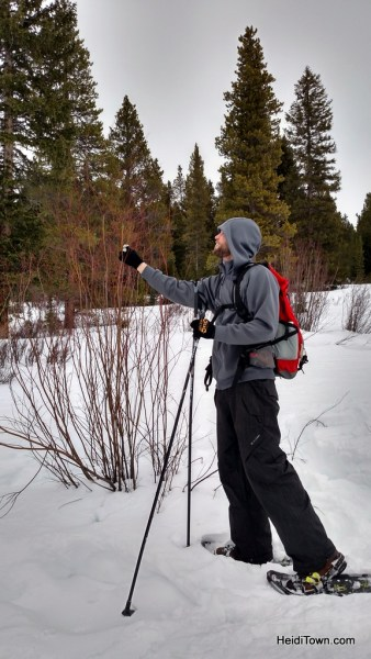 JD our snowshoe guide at Breckenridge Nordic Center points out moose activity. Heiditown.com