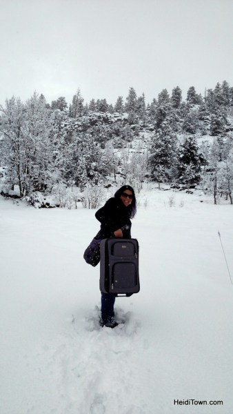 Kerri Ertman in a spring snowstorm. Colorado travel, be prepared. HeidiTown.com