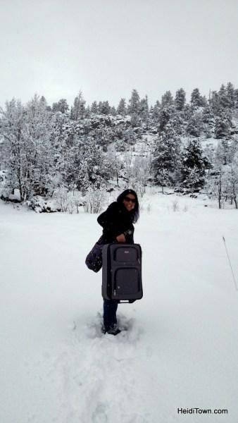 Kerri Ertman in a spring snowstorm. Colorado travel, be prepared. HeidiTown.com
