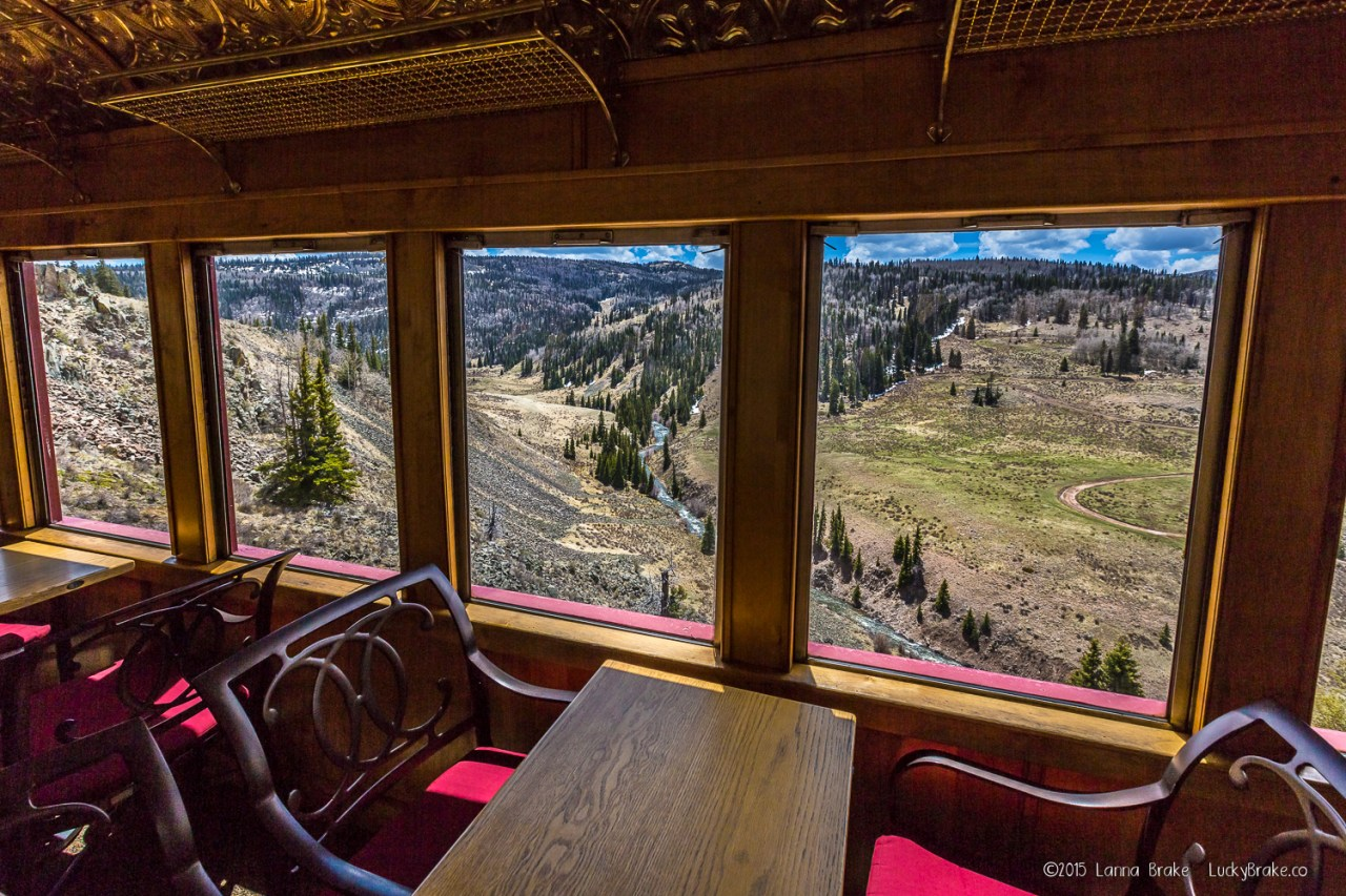 The dining car aboard the Cumbres & Toltec Scenic Railroad. HeidiTown.com, photo by Alanna Brake