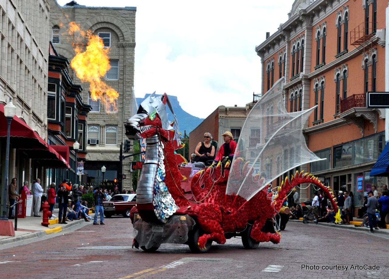 ArtoCade in Trinidad, Colorado. fire breathing dragon car