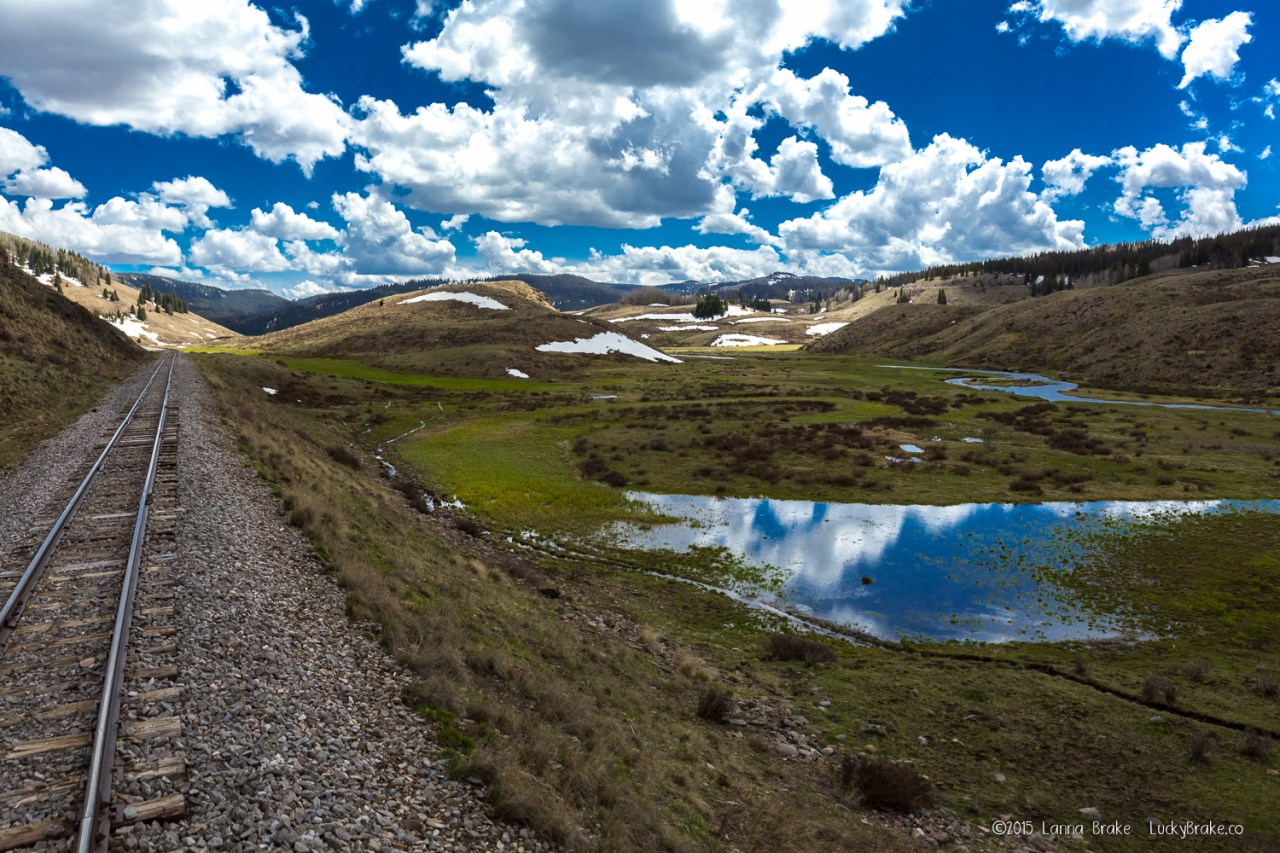 The view from the caboose on the Cumbres &Toltec Railroad in early spring. HeidiTown.com, photo by Alanna Brake