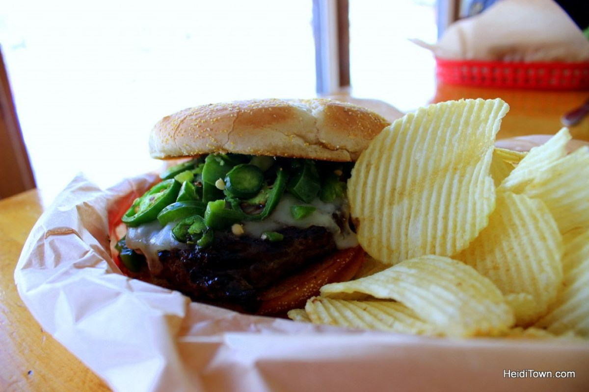 A hamburger at The Mish in Bellvue, Colorado along the Poudre River. HeidiTown.com