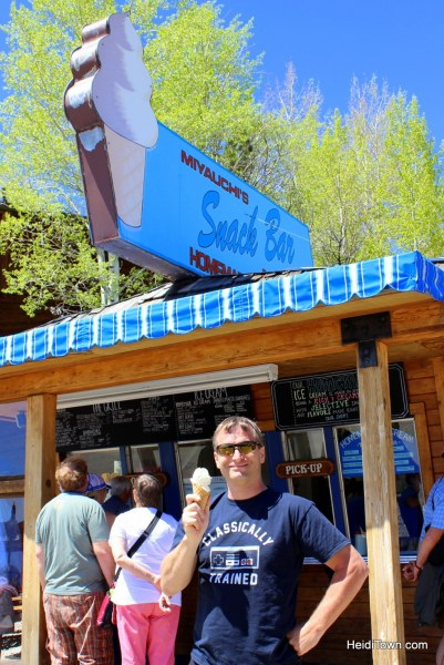 The perfect day in Grand Lake. Ice cream at Miyauchi's Snack Bar. HeidiTown.com