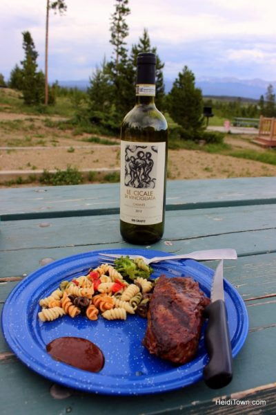A stay at Yurt Village at Snow Mountain Ranch. barbecue steak dinner with wine. HeidiTown.com