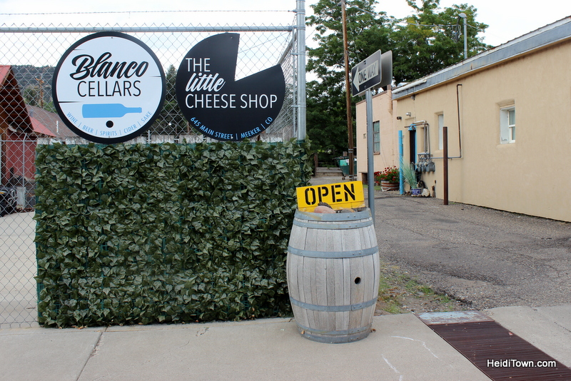 Meet Me in Meeker, Part One. Blanco Cellars & The Little Cheese Shop signage. HeidiTown.com