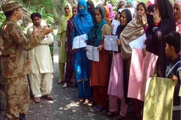 Repeated ceasefire violations peace supporters women protest for peace at LoC.