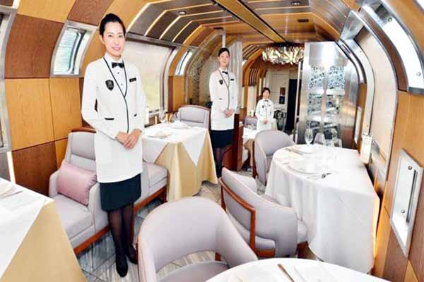 Luxury hotel style different design bedrooms ultra luxurious train service launched in Japan.
