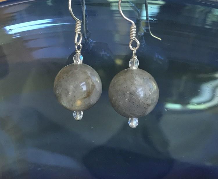 Sterling Silver, Labradorite (20mm), Czech Glass