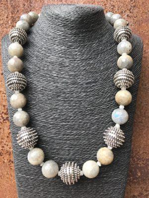 Symphony in Grey & Beige – Single Strand Gems Necklace