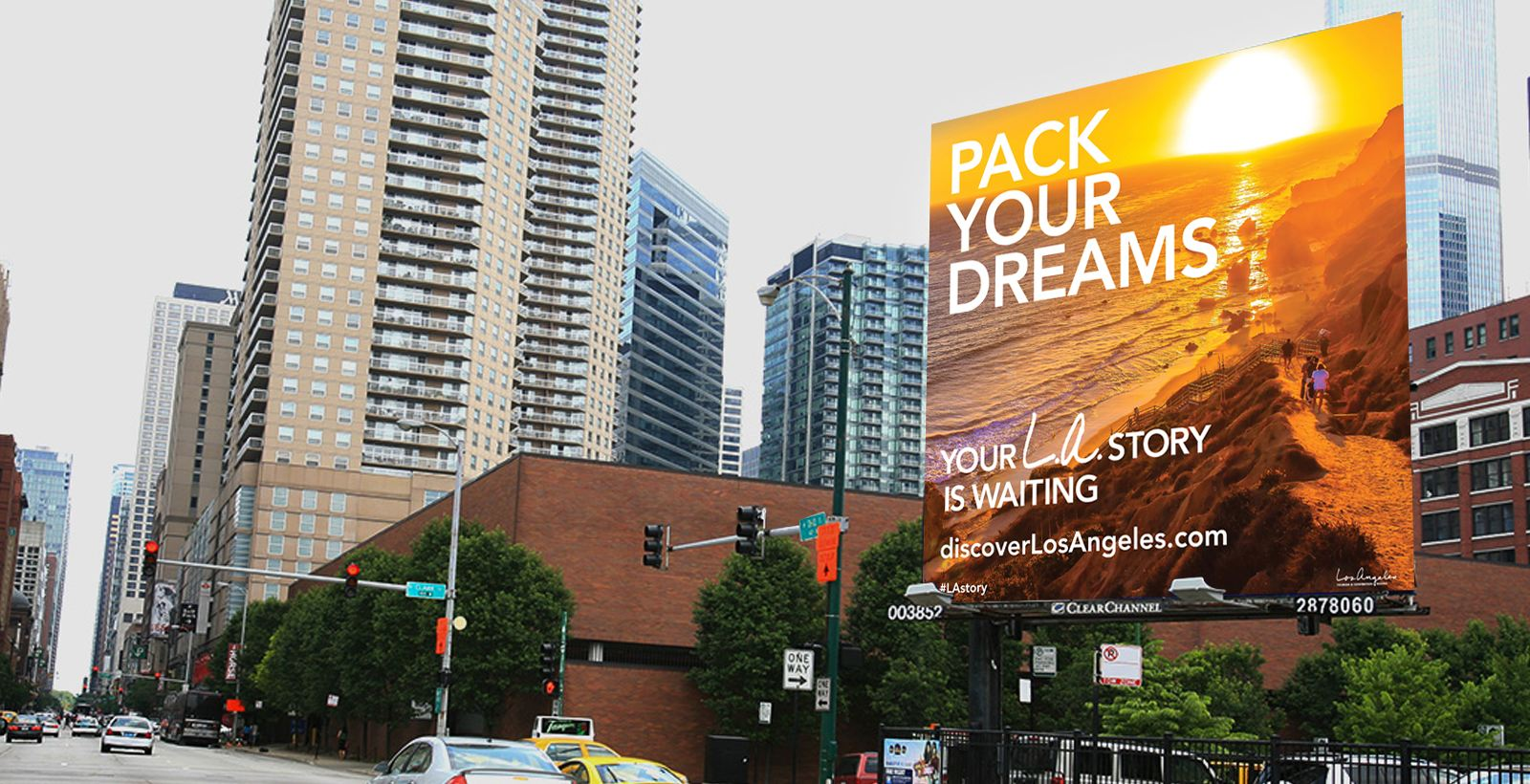 LA Tourism Billboard ad - pack your dreams with sunset image