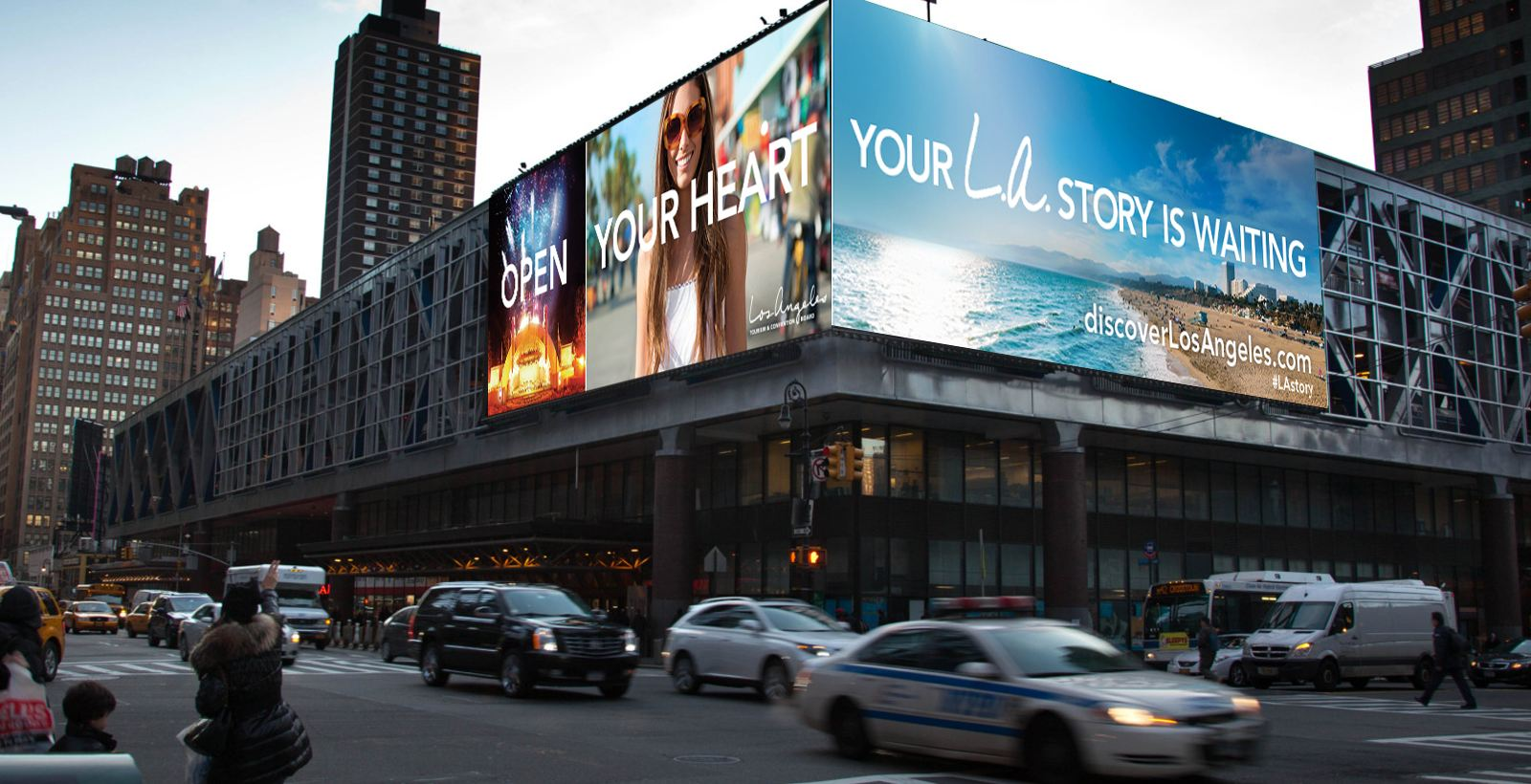 what's your LA story campaign billboard at NYC Port Authority building