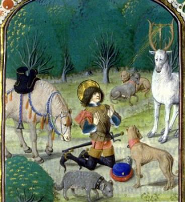 Hubert Le Pévost: Die Vision des Hubertus, aus der Légende Saint-Hubert, in der Bibliothèque Nationale de France in Paris