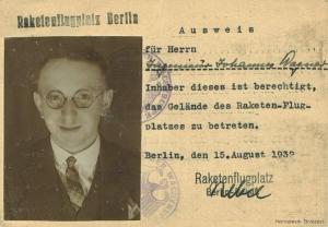 Hans Wagner Ausweis Raketentechnik