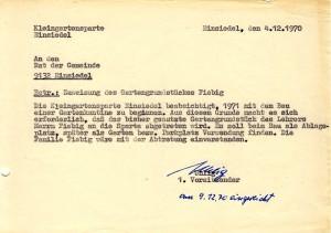 Antrag Fiebiggrundstück 1970
