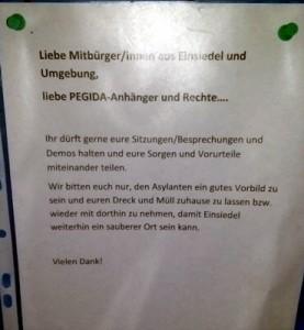 Aushang an der Anschlagtafel Kurt-Franke-Straße