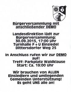 Demonstrationsaufruf 30. September 2015 Parkplatz Waldklause