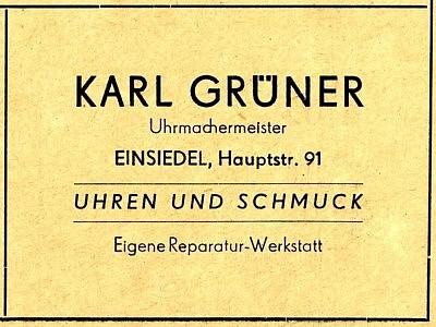 Werbeannonce Karl Grüner 1955 Einsiedel in der Hauptstraße 91