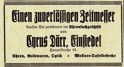 Uhrmacher Cyrus Därr Werbung 1935