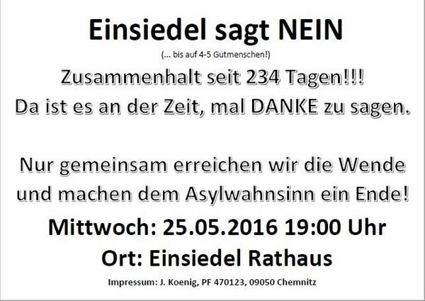 Flyer Demo Einsiedel 25.05.2016