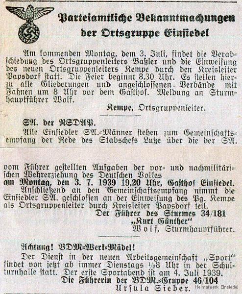 Wechsel Ortgruppenleiter NSDAP Einsiedel 1939