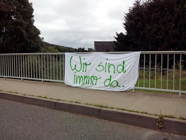 Banner des Infostandes an der Oberförsterbrücke
