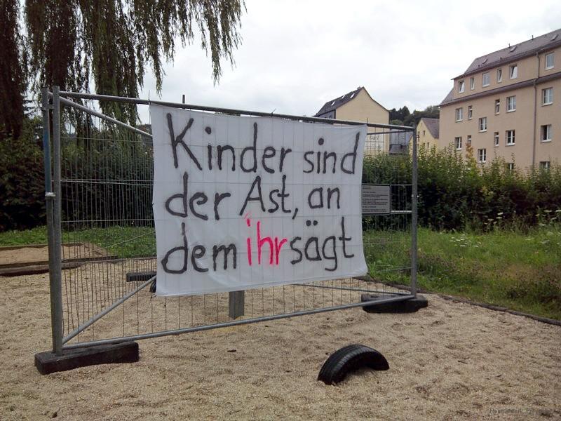 Protestbanner Walter-Wieland-Hain Einsiedel